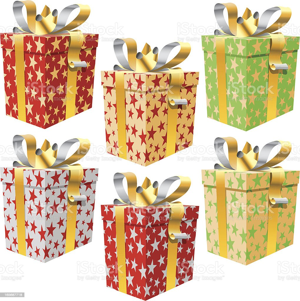 Set of 6 gift boxes, pattern stars, gold ribbon royalty-free stock vector art