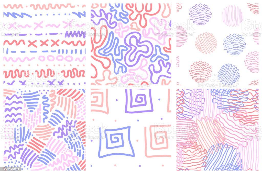 Ilustración de Conjunto De 6 Dibujado A Mano Sin Costura Patrones ...