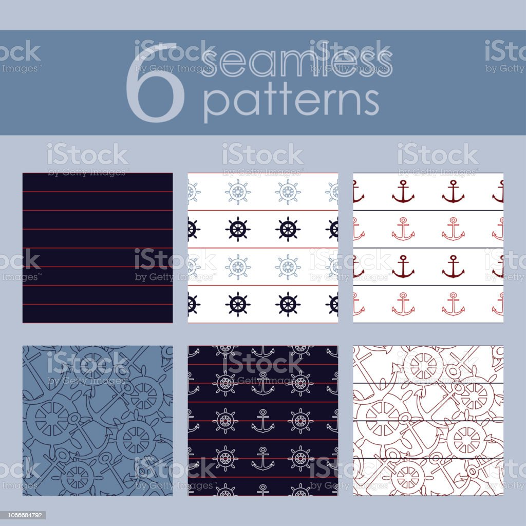 Set Of 6 Nautical Backgrounds In Dark Blue Light Blue Red