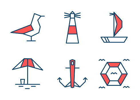 Set of 6 nautical icons. Two-color flat design. Vector illustration.