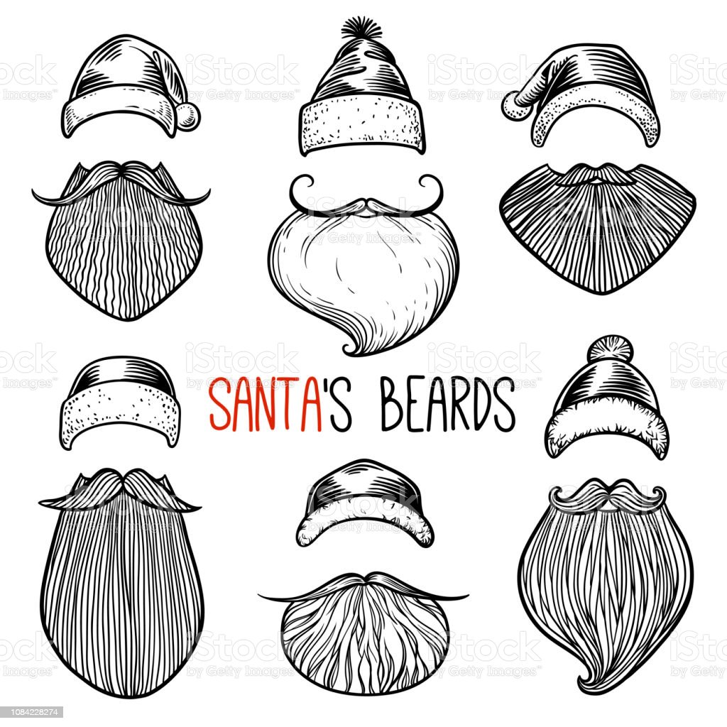 Swell Set Of 6 Santa Claus Beards Mustache And Hats Vector Christmas Schematic Wiring Diagrams Amerangerunnerswayorg