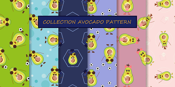 Set of 6 seamless avocado patterns. Repetitive background of funny tropical fruits for the kids. Textiles and fabrics for baby. Half a trovic avocado. Healthy vegetarian food for diet. Vector