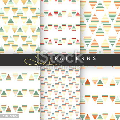 Set of 6 seamless retro geometric patterns . Background tiles for printing . Pattern with triangles. Background stripes. Pastel colors . Seamless pattern with geometric shapes