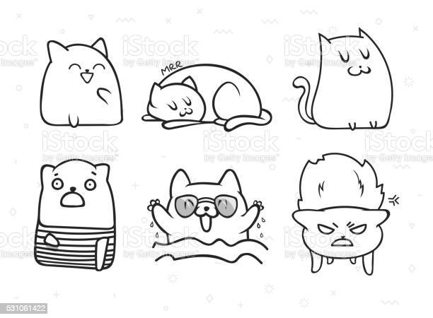 Set of 6 sticker doodle cats with different emotions vector id531061422?b=1&k=6&m=531061422&s=612x612&h=ly3mcljhahnlf1dcdwvdqsyaewivj  lfjfzsynqkas=