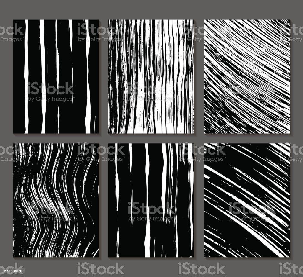 Set of 6 textures. Lines, bands, waves. Abstract shapes drawn in ink. Backgrounds in black and white. Hand drawn. Vector illustration. vector art illustration
