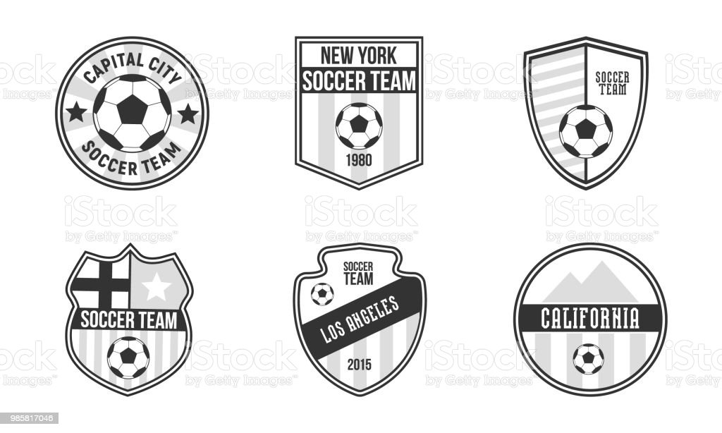 set of 6 unique soccer emblems football logos template set vintage