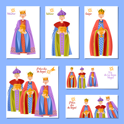 Set of 6 universal Christmas greeting cards with Children in Biblical Magi costumes. Feliz dia de reyes! (Happy Three Kings Day!). Template.