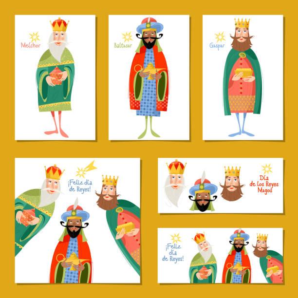ilustrações de stock, clip art, desenhos animados e ícones de set of 6 universal christmas greeting cards with three kings. feliz dia de reyes! (happy three kings day!). template. - reis magos