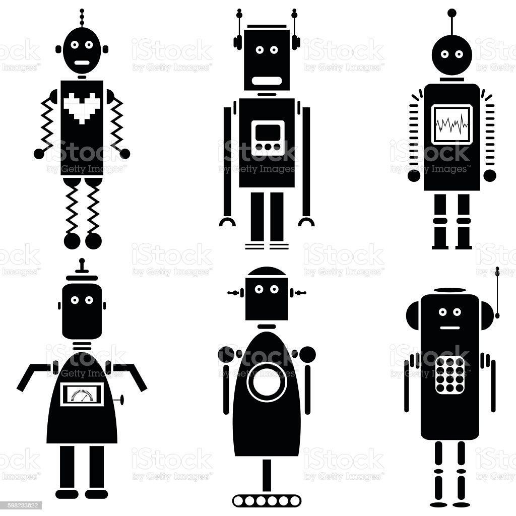 Set of 6 vintage robots in black and white ilustração de set of 6 vintage robots in black and white e mais banco de imagens de abstrato royalty-free