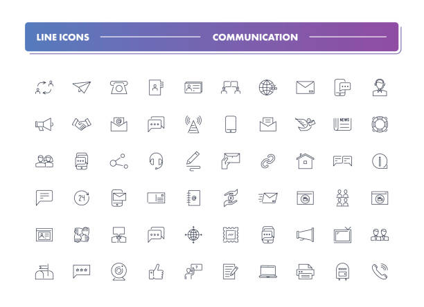 Set of 60 line icons. Communication Set of 60 line icons. Communication collection. Vector illustration or  communion with people, social networks, contact us web address stock illustrations