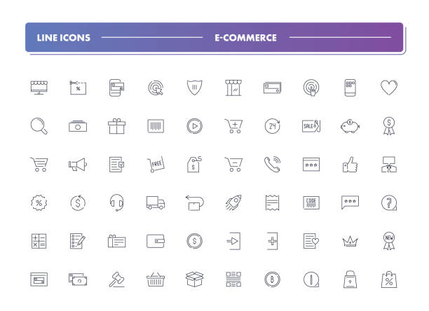 Set of 60 line icons. E-commerce Set of 60 line icons. E-commerce collection. Vector illustration for internet and online work online shopping stock illustrations