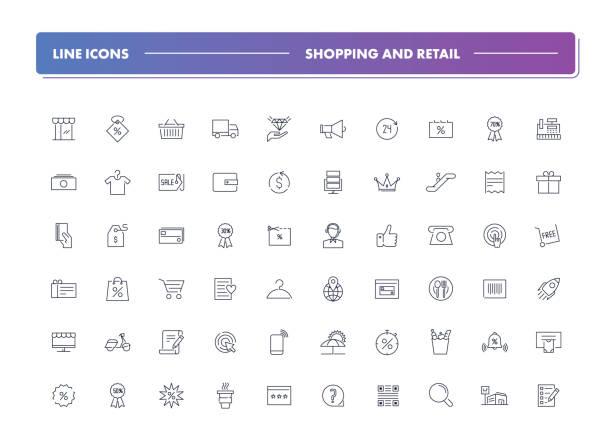 ilustrações de stock, clip art, desenhos animados e ícones de set of 60 line icons. shopping and retail - online shopping