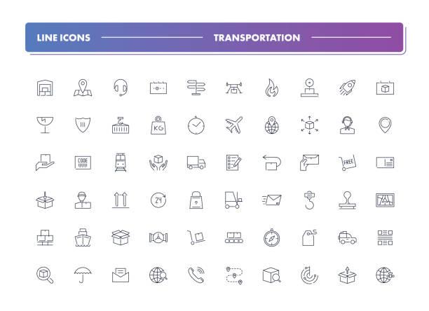 bildbanksillustrationer, clip art samt tecknat material och ikoner med uppsättning 60 rad ikoner. transport - on demand