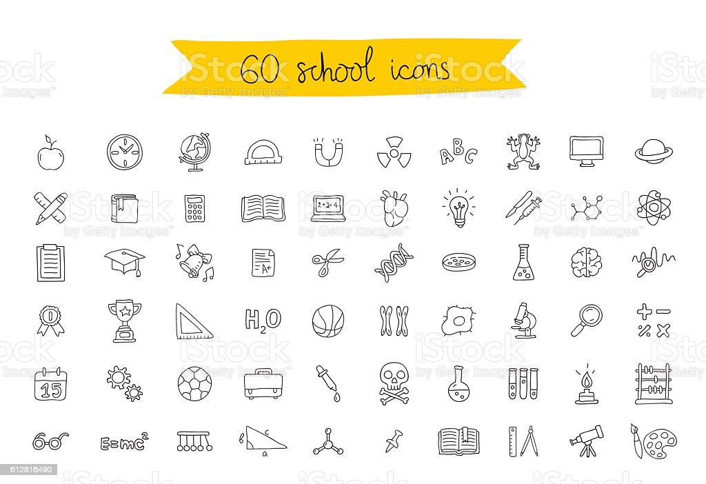 Set of 60 school icons vector art illustration