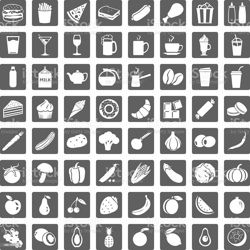 Set of 64 simple white on gray food icons vector art illustration