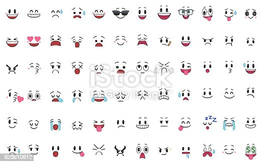 istock Set of 72 different pieces of emotions 623610612