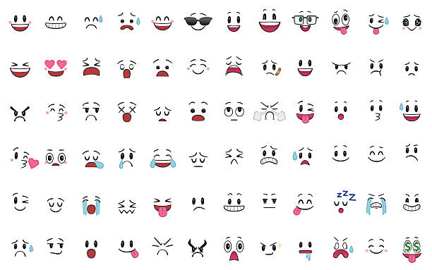 stockillustraties, clipart, cartoons en iconen met set of 72 different pieces of emotions - gezichtsuitdrukking