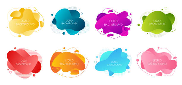 ilustrações de stock, clip art, desenhos animados e ícones de set of 8 abstract modern graphic liquid elements. dynamical waves different colored fluid forms. isolated banners with flowing liquid shapes. template for the design of a flyer or presentation - amiba