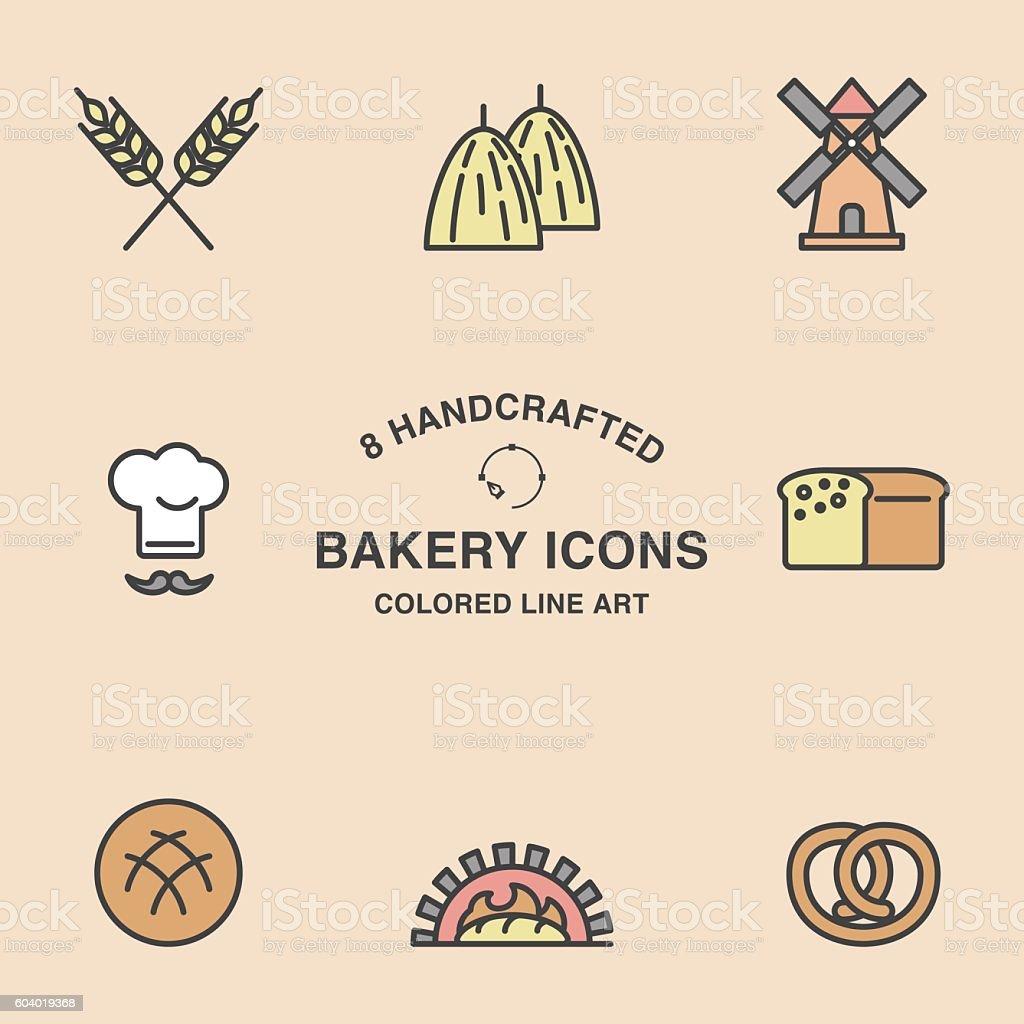 Set of 8 bakery icons. vector art illustration