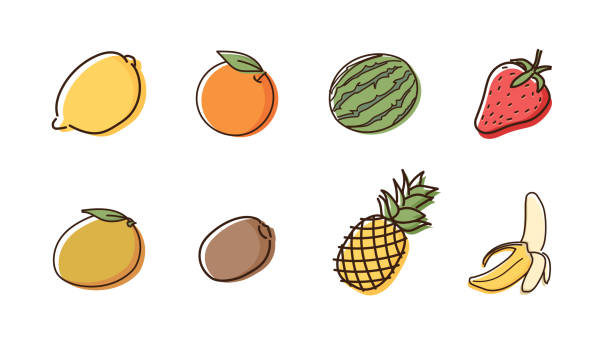 illustrazioni stock, clip art, cartoni animati e icone di tendenza di set of 8 fruit doodles with watercolor style. vector hand drawn icon illustrations - fragole