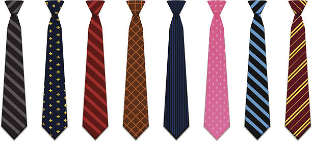set of 8 illustrated neck ties - tie stock illustrations, clip art, cartoons, & icons