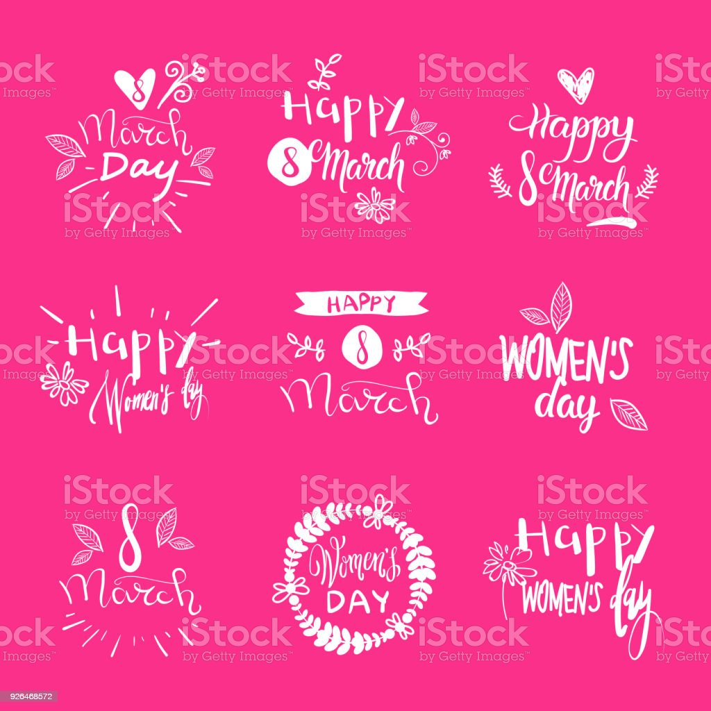 Set Of 8 March Holiday Stickers On Pink Background Creative Hand Drawing Lettering Text Woman Day