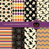 Set of 8 seamless halloween patterns  in the traditional holiday