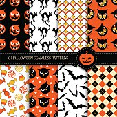 Set of 8 seamless halloween patterns