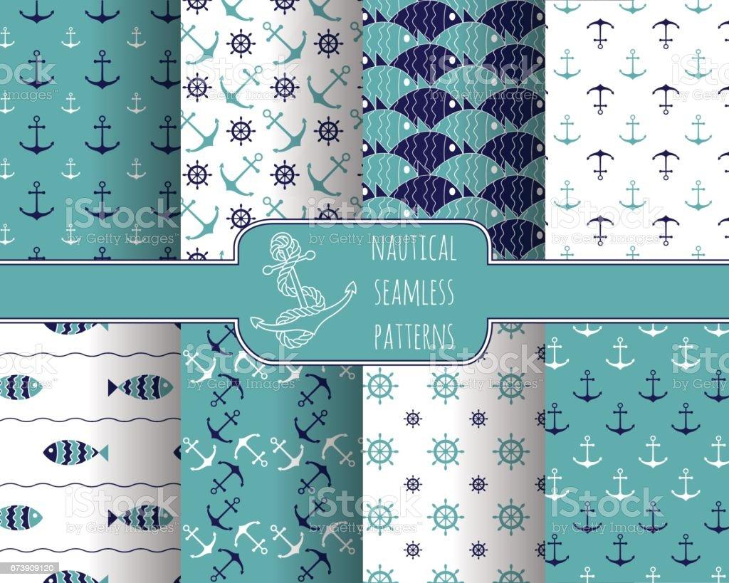 Set of 8 seamless nautical patterns vector art illustration