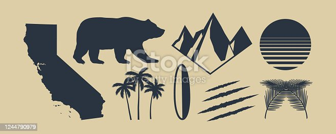 istock Set of 8 symbols of California. California map, palm trees, mountains. Bear and Scratch claws. California retro sun. Vintage elements for design symbol, poster, print for t-shirt. Vector illustration 1244790979