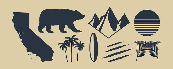 Set of 8 symbols of California. California map, palm trees, mountains. Bear and Scratch claws. California retro sun. Vintage elements for design symbol, poster, print for t-shirt. Vector illustration
