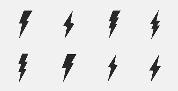 Set of 8 thunderbolts icons. Lightning icons isolated on white background. Vector illustration