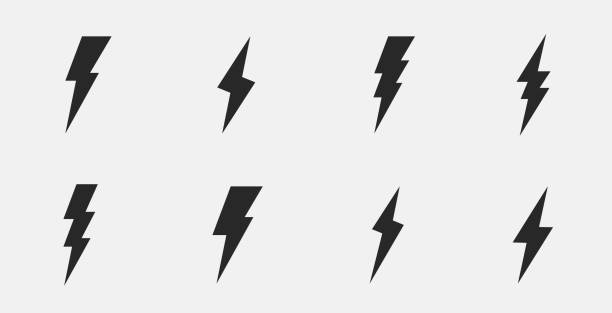 Set of 8 thunderbolts icons. Lightning icons isolated on white background. Vector illustration Vector illustration thunderstorm stock illustrations