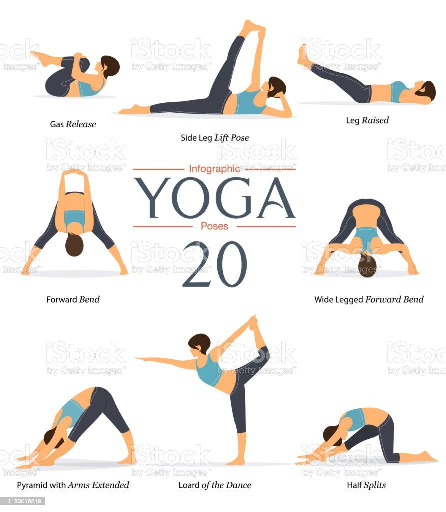Set Von 50 Yoga Posen In Flachem Design Frauenfiguren Trainieren In ...