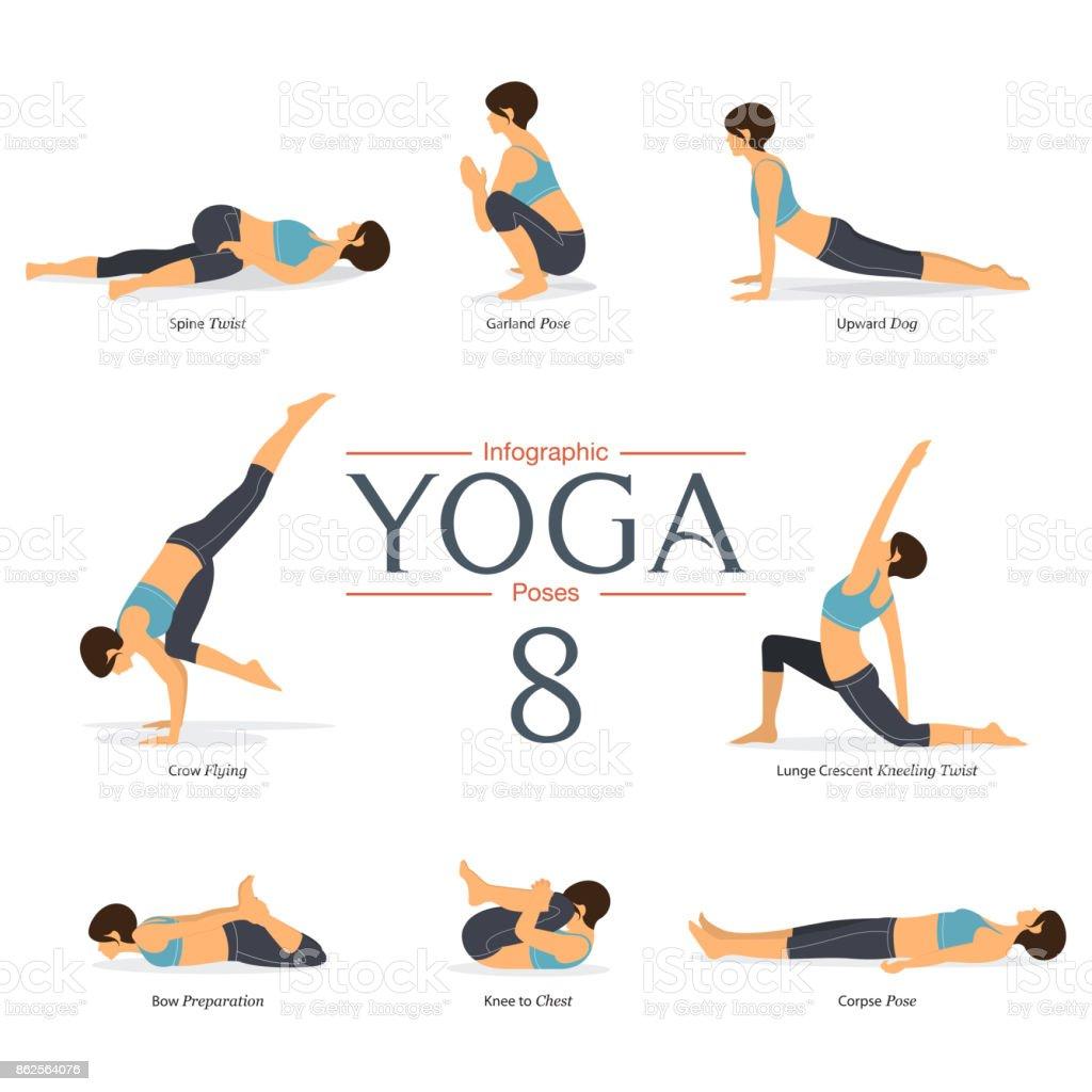 Conjunto de 8 posturas de yoga en diseño plano. Figuras de la mujer ejercen en ropa deportiva azul y pantalón negro yoga para infografías de yoga. Vector de - ilustración de arte vectorial