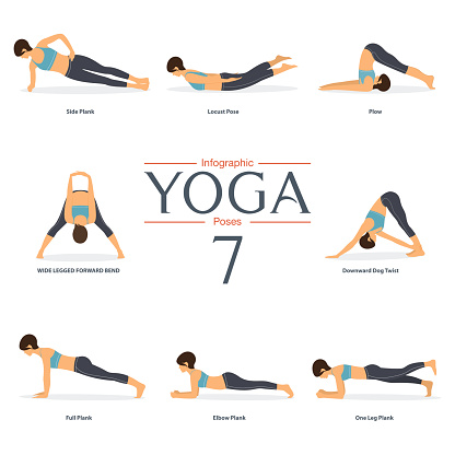 set of 8 yoga poses in flat design woman figures in