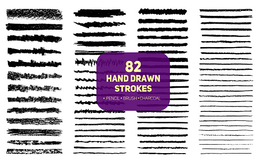 Set of 82 hand drawn texture brush, pencil and charcoal strokes lines.