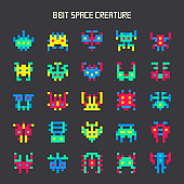set of 8-bit color space monsters