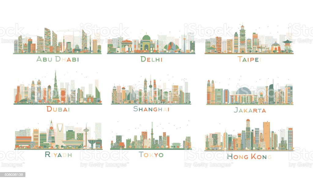 Set of 9 Abstract City Skyline. Vector Illustration. vector art illustration