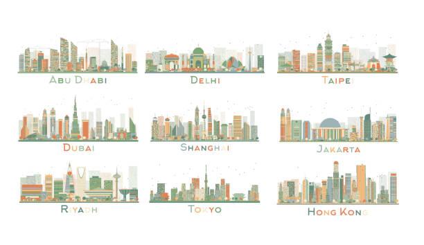 set of 9 abstract city skyline. vector illustration. - abu dhabi stock illustrations