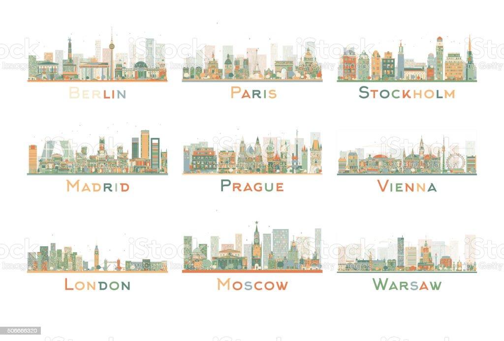 Set of 9 Abstract Europe City Skyline. Vector Illustration. vector art illustration