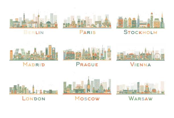 bildbanksillustrationer, clip art samt tecknat material och ikoner med set of 9 abstract europe city skyline. vector illustration. - skyline stockholm
