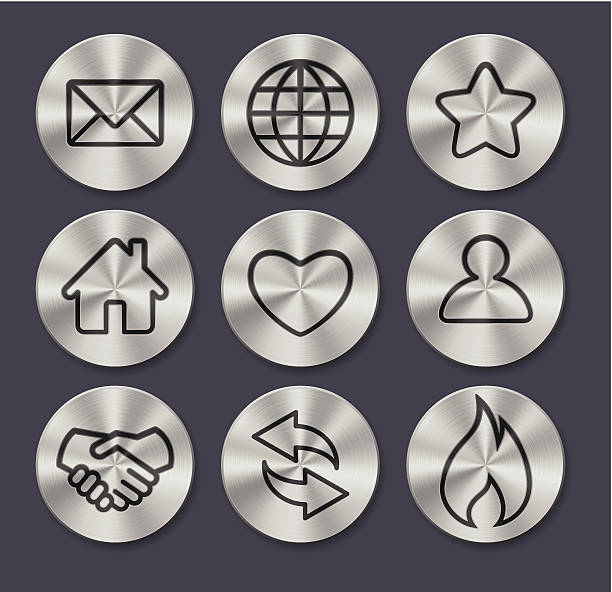 Set of 9 assorted metal button icons vector art illustration