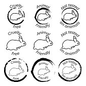 istock Set of 9 black and white icons with rabbit in seal. Cruelty free, Animal friendly and not tested on animals labels 1322936463