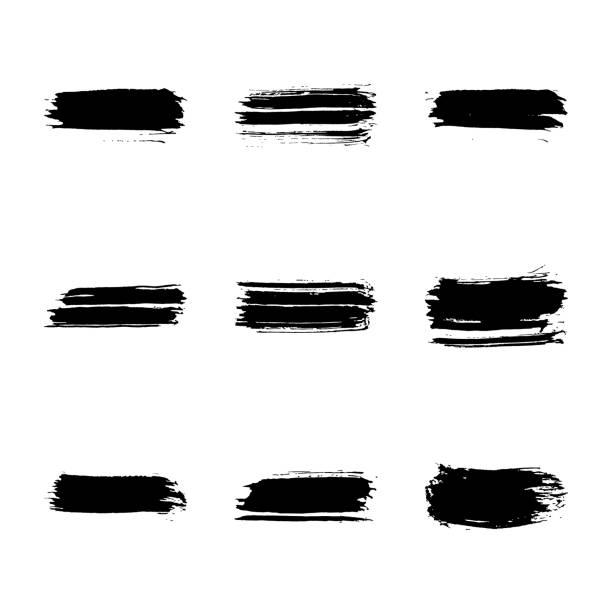 ilustrações, clipart, desenhos animados e ícones de conjunto de 9 pinceladas de tinta preta mão-extraídas horizontal isolado no fundo branco. formas em bruto. doodle estilo grunge abstrato textura. - planos de fundo borrados
