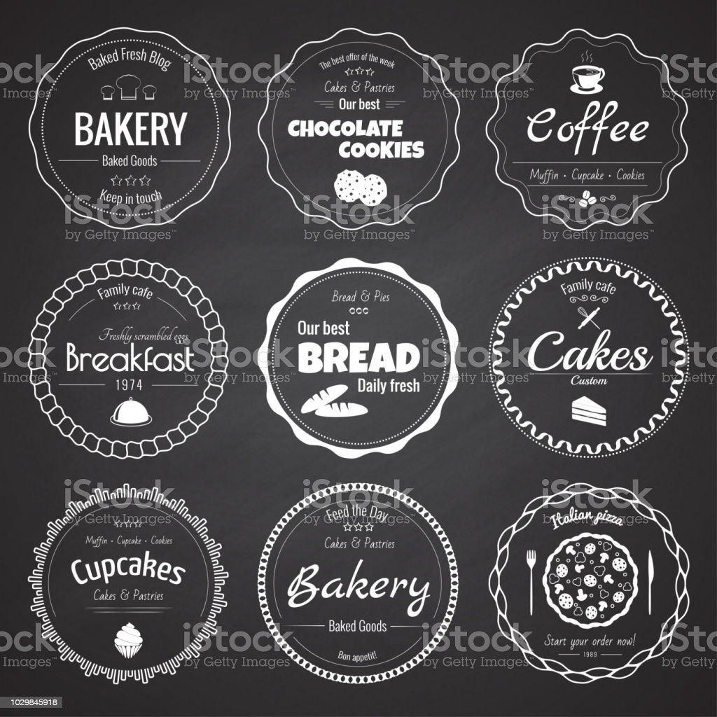 Set of 9 circle bakery labels royalty-free set of 9 circle bakery labels stock illustration - download image now