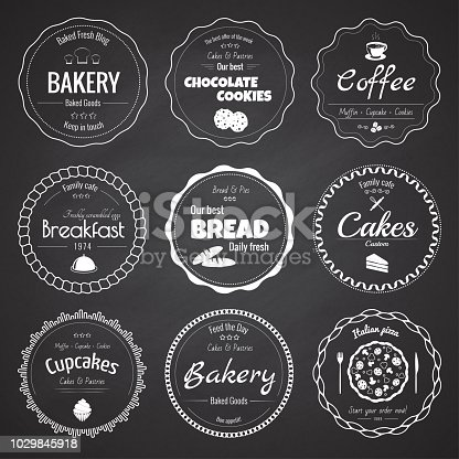 Set of 9 circle bakery labels on the chalkboard background