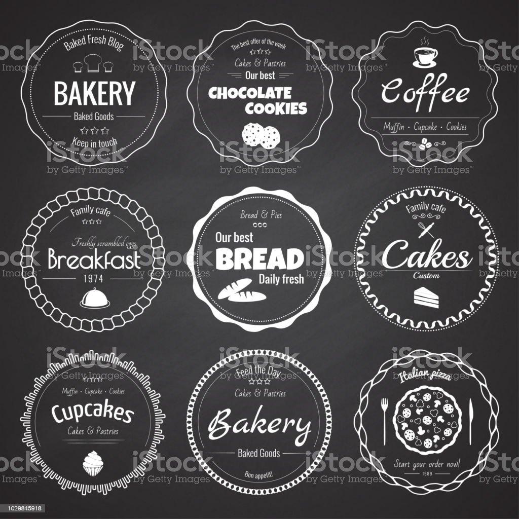 Conjunto de etiquetas de panadería 9 circle - ilustración de arte vectorial