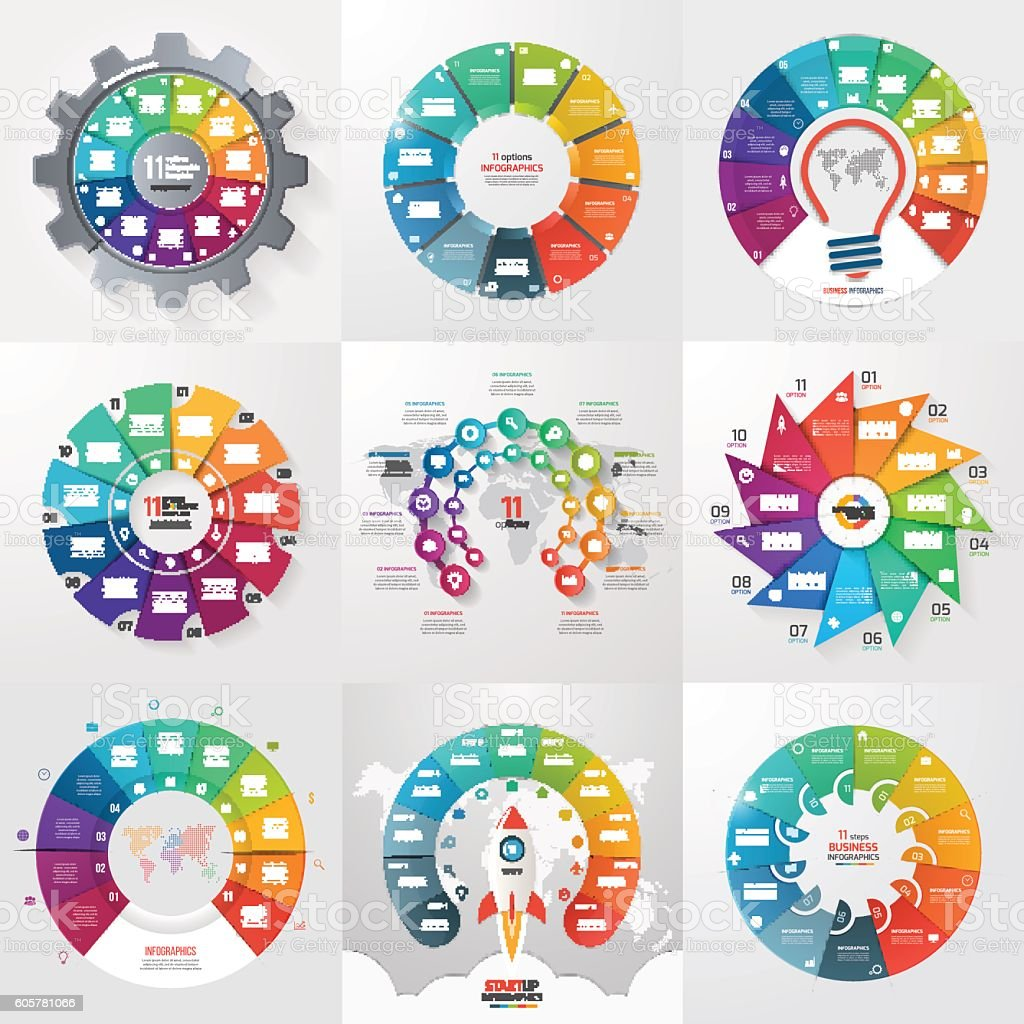 Set of 9 circle infographic templates with 11 options, steps