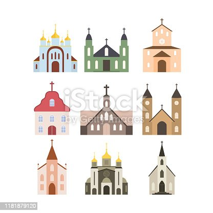Set of 9 colored church icons for web design. The buildings of the Catholic, Orthodox Church with crosses, windows, doors, domes. Flat vector illustration isolated on white background.